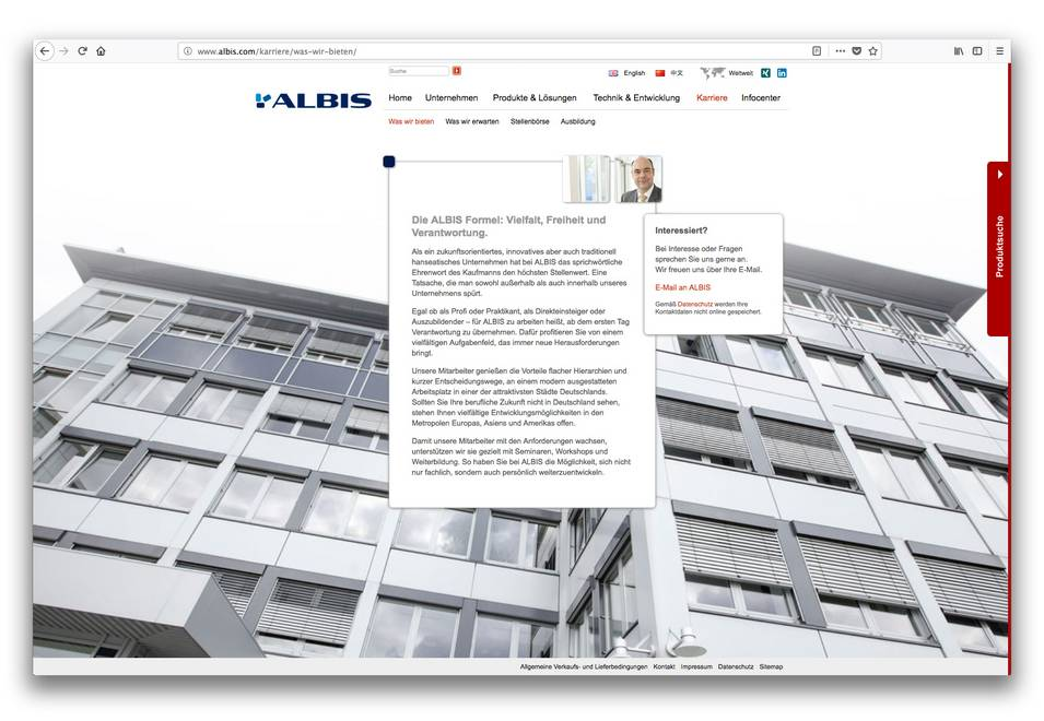 Screen 2 der Albis Plastic Website