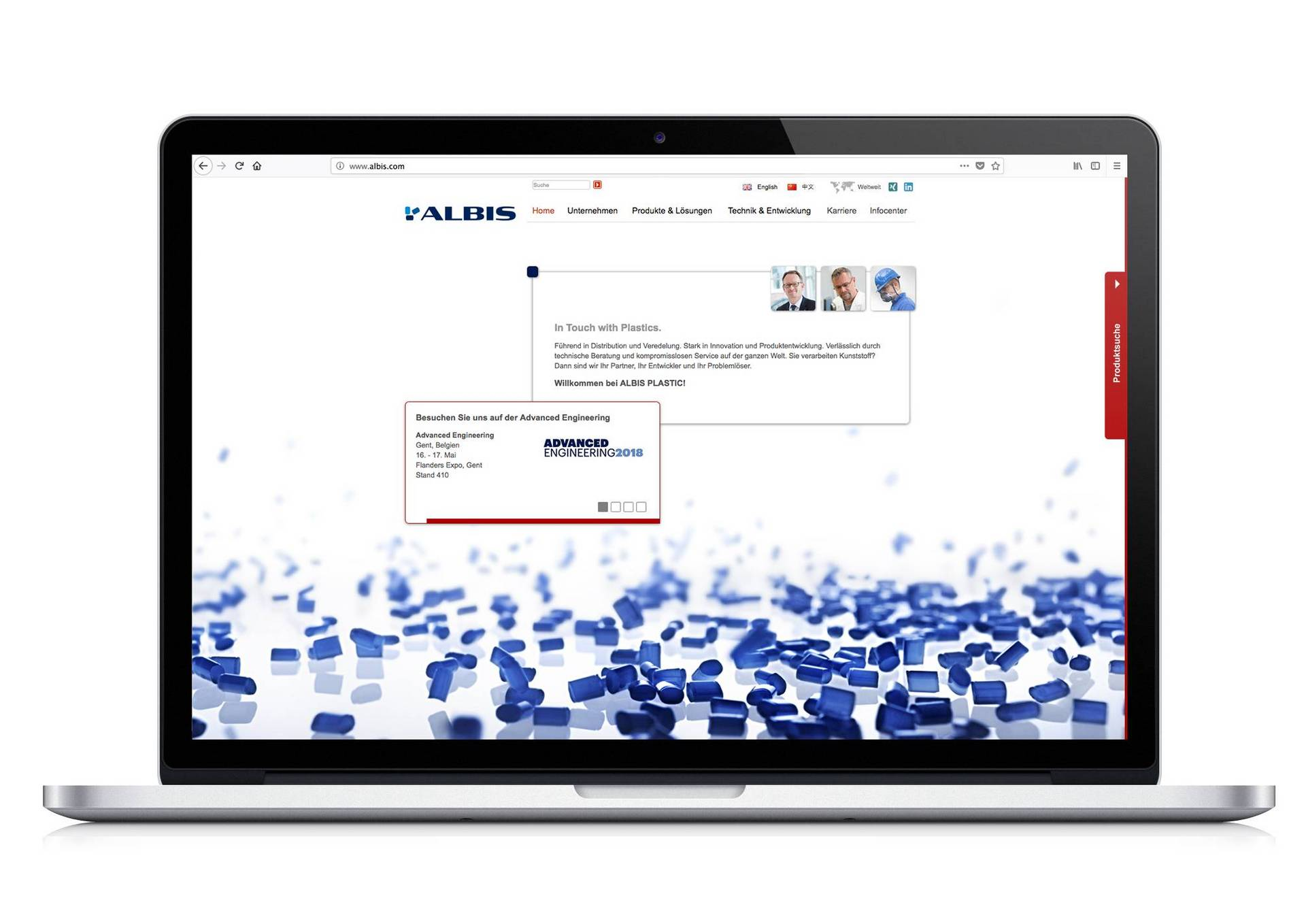 Homepage der Albis Plastic Website