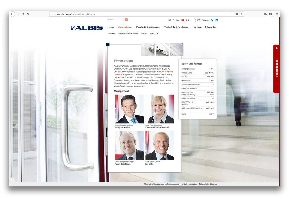 Screen 5 der Albis Plastic Website