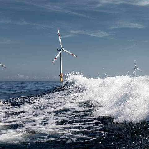 Three wind turbines on the high seas